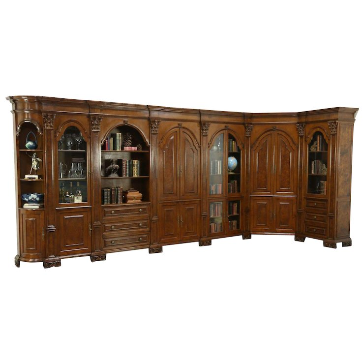 Italian Carved Walnut Vintage Library Bookcase & Bar Cabinet, L Shape, 16'  Long - Italian Carved Walnut Vintage Library Bookcase & Bar Cabinet, L