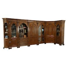 Italian Carved Walnut Vintage Library Bookcase & Bar Cabinet, L Shape, 16' Long
