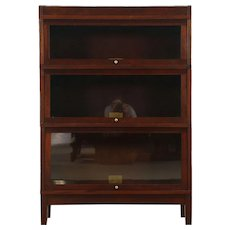 Mahogany Antique 3 Section Stacking Lawyer Library Bookcase, Globe Wernicke