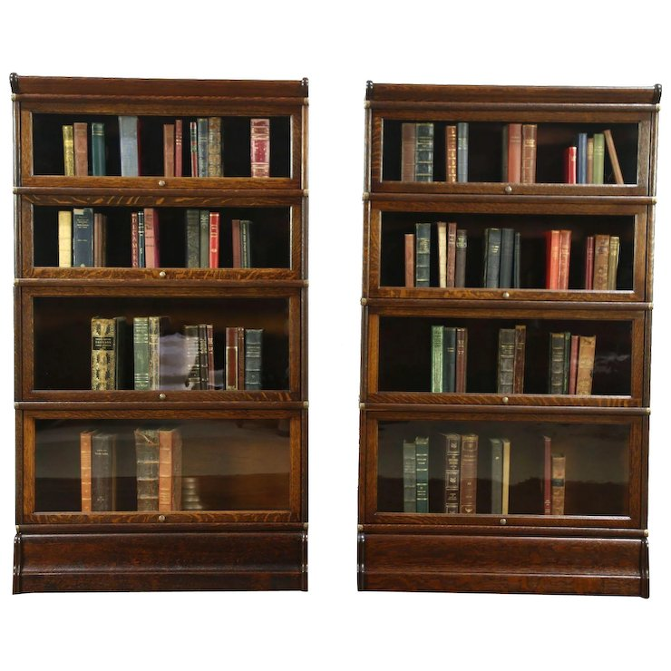 Lawyer Pair Antique 4 Stack Oak Bookcases, Wavy Glass Doors, Globe Wernicke - Lawyer Pair Antique 4 Stack Oak Bookcases, Wavy Glass Doors, Globe