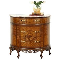 Marble Top Demilune Half Round Antique Console Cabinet, Marquetry Scene