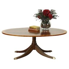 Traditional Vintage Oval Coffee Table, Banded Mahogany, Signed Ethan Allen