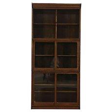 Oak Stacking Antique 3 Section Bookcase Bath Cabinet Sliding Glass Doors, Danner
