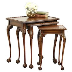 Set of 3 Traditional Georgian Carved Mahogany Vintage Nesting Tables