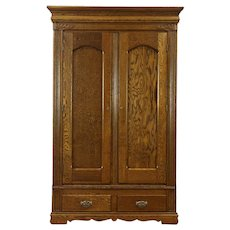 Oak Carved Antique 1900 Armoire, Wardrobe Or Closet, Disassembles. Harp  Gallery Antique Furniture