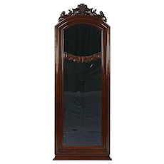 Mahogany Antique 1895 Mirror, Hand Carved Grapes, Denmark