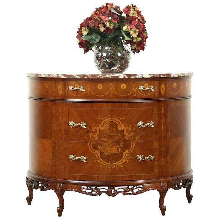 Demilune Half Round Marble Top Console Chest Or Cabinet, Marquetry Scene