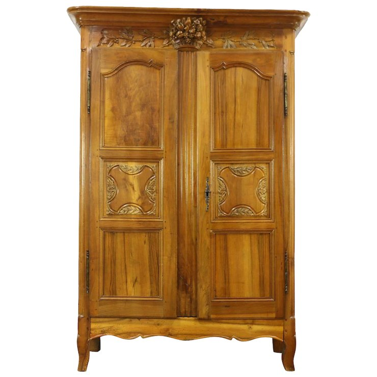 French Antique 1780 Fruitwood Armoire Wardrobe, Hand Carved Fruit & Bird  Motifs - French Antique 1780 Fruitwood Armoire Wardrobe, Hand Carved Fruit