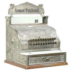 National Cash Register, Antique 1898, Nickel on Brass Case, Restored & Working