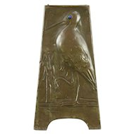 Arts & Crafts 1900 Antique Hammered Copper Bird Vase, Signed Mrs Allomes