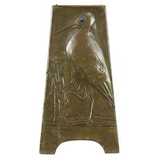 Arts & Crafts 1900 Antique Hammered Copper Bird Vase, Signed Mrs Allomes