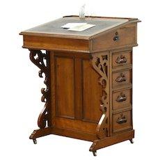 Davenport or Ship Captain 1875 Antique Victorian Carved Walnut Desk