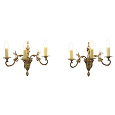 Pair Vintage Brass Triple Wall Sconce Lights, Figures, Faces & Birds, Spain