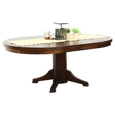 """Round Solid Oak 1910 Antique 45"""" Craftsman Dining Table, 2 Leaves"""