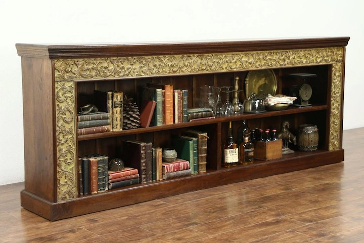Merveilleux Counter, TV Console Cabinet, Bookcase Or Backbar, Hand Carved Dutch East  Indies