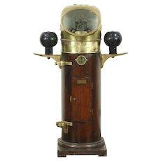 White Boston Hughes Ontario Antique Nautical Binnacle Ship Compass, Brass Mounts