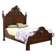 Victorian 1860 Antique Queen Size Walnut Bed, Hand Carved Fruit & Nut Crest