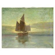 Sailing Ship Original Oil Painting, Unframed, Signed P. Ganelli