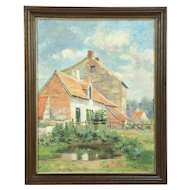 Ancient Farmhouse in France, Antique Original Oil Painting, Signed M. Sulpetier