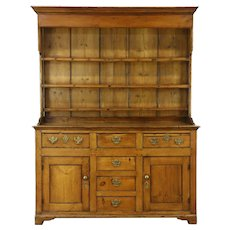 Country Pine Antique Welsh Dresser, Sideboard or Pantry Pewter Cupboard, British