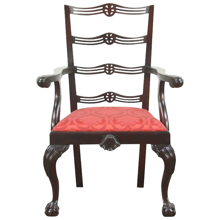 Brilliant Georgian Chippendale Vintage Mahogany Desk Or Occasional Chair New Upholstery Machost Co Dining Chair Design Ideas Machostcouk