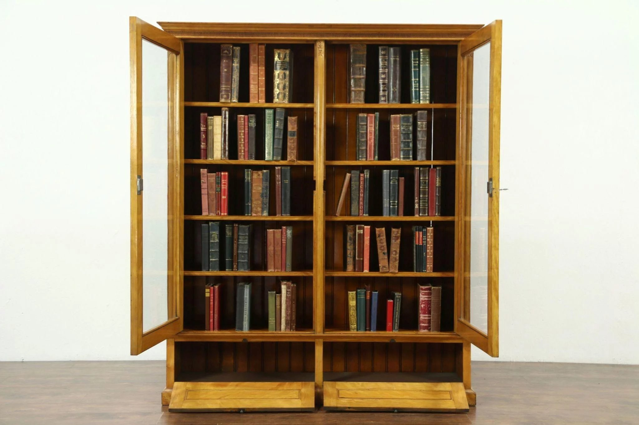 Curly Birch Antique Library Bookcase, Wavy Glass Doors, Adjustable Shelves