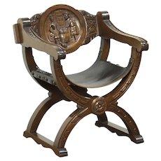 Savonarola Vintage Chair, Carved Tavern Scene, Leather Seat, Italy