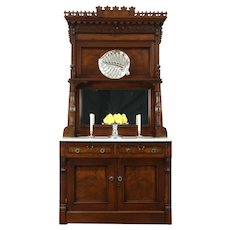 Victorian Eastlake Antique Marble Top Walnut Sideboard Server, Mirror #28515