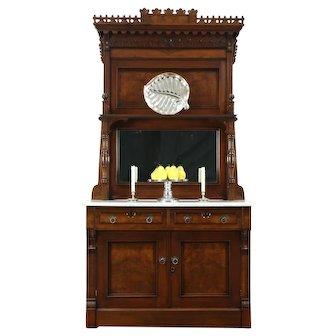 Victorian Eastlake Antique Marble Top Walnut Sideboard Server, Mirror #28515