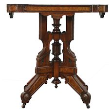 Victorian Eastlake Marble Top Parlor Table