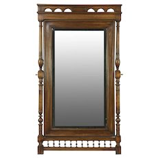 Walnut Antique 1900 Swivel Beveled Dressing or Hall Mirror, Italy #28520