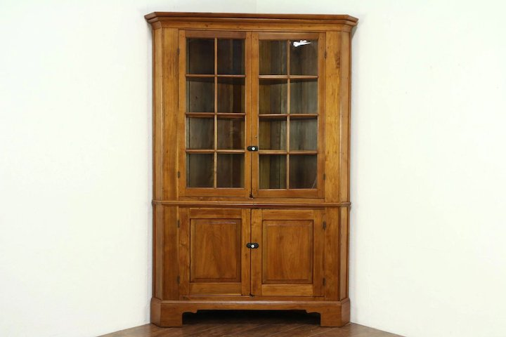 Walnut 1840 Antique Corner Cabinet or Cupboard, Wavy Glass Doors, Ohio - Walnut 1840 Antique Corner Cabinet Or Cupboard, Wavy Glass Doors