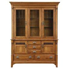 Oak Vintage China Display Cabinet, Lighted Beveled Leaded Glass, Richardson Bros
