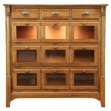 Oak Vintage China Display Cabinet, Lighted, Beveled Glass, Richardson Bros