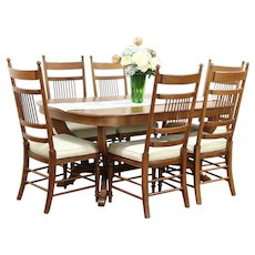 Oak Vintage Dining Set, Table, 4 Leaves, 6 Chairs, Signed Richardson Bros
