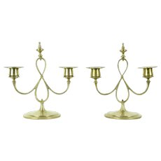 Pair of Brass Hand Wrought Antique Candelabra