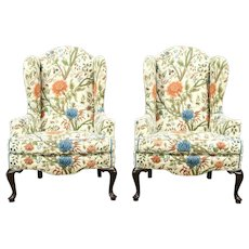 Pair of Traditional Vintage Wing Chairs, Quilted Upholstery