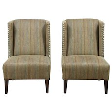Pair of Wing Chairs, Nickel Studs, Signed Craftmaster 2012