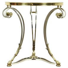 Brass & Nickel Beveled Glass Contemporary Lamp Table, Horse Hoof Feet