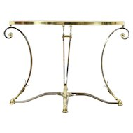 Brass & Nickel Beveled Glass Contemporary Demilune Console Table Horse Hoof Feet