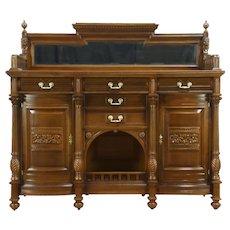 Oak Antique Carved Lion Sideboard, Server, Buffet or Back Bar, Beveled Mirror