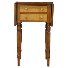 Cherry & Tiger Curly Maple Antique 1830's Pembroke End or Lamp Table, Nightstand