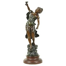 Circee, Antique Greek Mythological Sculpture, Bronze Finish, Signed L&F Moreau