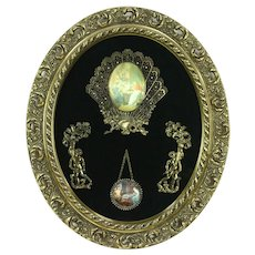 Oval Vintage Shadowbox, Cherubs, Chess & Tea Miniature Pictures