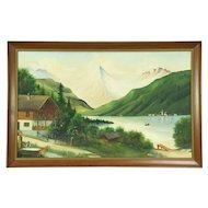 Bavarian Alps Scene with Chalet, Vintage Original Oil Painting
