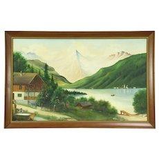 Bavarian Alps Scene with Chalet, Vintage Original Oil Painting