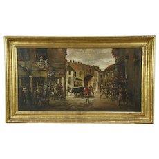 Bull Fight Original Antique Oil Painting on Canvas, Eugenio Velasquez
