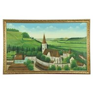 Medieval Church & Village Walls, Vintage Original Oil Painting, Signed Matke