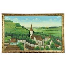 Medieval Church & Village Walls, Vintage Original Oil Painting, Signed Matke