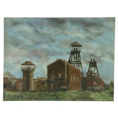 Industrial Scene Original Oil Painting, Signed Paschenko 1950